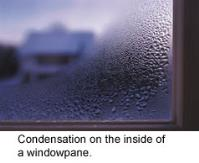 Example of condensation on the inside of a window